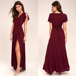 Lulus Heart Of Marigold Burgundy Wrap Maxi Dress